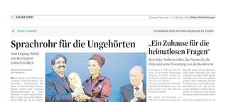 Sprachrohr für die Ungehörten - Kölner Stadt Anzeiger 03./04. Oktober 2011  Artikel + Interview mit Jens Sejer Andersen