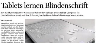 Tablets lernen Blindenschrift