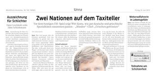 Zwei Nationen auf dem Taxiteller
