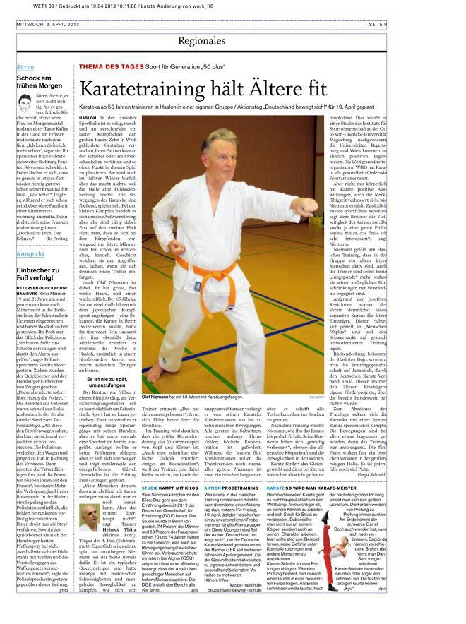 Karatetraining hält Ältere fit