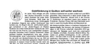 Goldförderung in Québec soll weiter wachsen