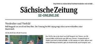 Sächsische Zeitung: Ralf Rangnick - Vordenker und Vorbild