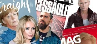 Merkel, Putin und Bushido auf dem Cover eines Gay-Magazins