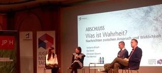 """Jugendmedientage 2014: """"Was ist Wahrheit"""" - DJV-Diskussion u.a. mit """"heute""""-Moderator C. Sievers / 9.11.2014"""