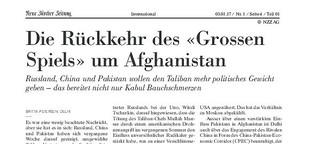 """Die Rückkehr des """"Grossen Spiels"""" um Afghanistan"""
