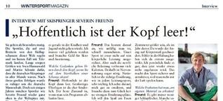 """""""Hoffentlich ist der Kopf leer!"""" Interview mit Skispringer Severin Freund"""