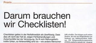 Rettungs-Magazin: Darum brauchen wir Checklisten!