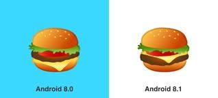 Burger-Emoji: Bei Android 8.1 liegt der Käse auf der Bulette
