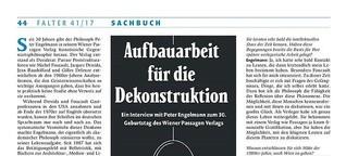 Peter Engelmann Interview, Falter Buchbeilage Herbst 2017
