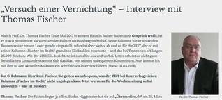 """""""Versuch einer Vernichtung"""" - Interview mit Thomas Fischer"""