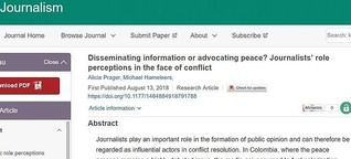 Disseminating information or advocating peace? Journalists' role perceptions in the face of conflict