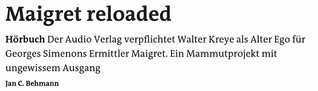 Hörbuch: Maigret reloaded