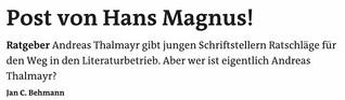 Post von Hans Magnus!