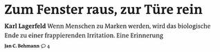 Nachruf: Karl Lagerfeld - Zum Fenster raus, zur Türe rein