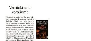 """Rezension Heinrich Steinfest """"Der schlaflose Cheng"""""""