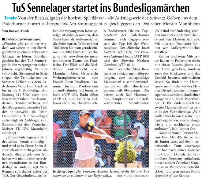 TuS Sennelager startet ins Bundesligamärchen