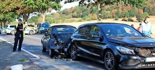 Auto kracht auf Stauende - Fahrer nicht angeschnallt