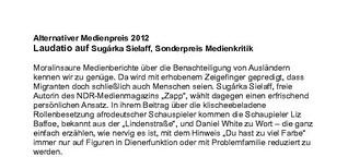 Laudatio Alternativer Medienpreis 2012