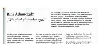 """Bini Adamczak: """"Wir sind einander egal"""" - SPEX #384"""