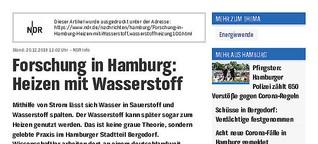 Audio: Heizen mit Wasserstoff NDR info
