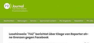 """""""FAZ"""" berichtet über Klage von Reporter ohne Grenzen gegen Facebook"""